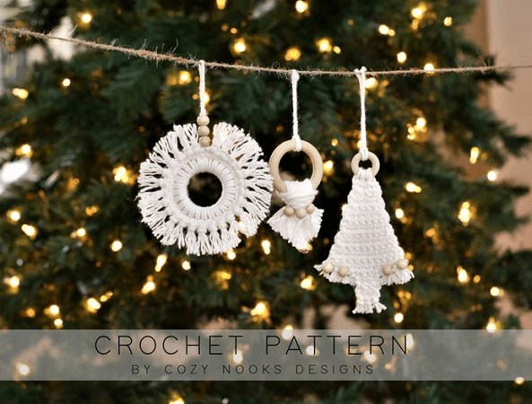 Boho Christmas Ornaments Crochet Pattern by Cozy Nooks Designs
