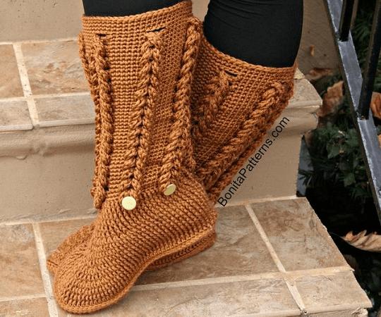 Braid Stitch Long Boots Crochet Pattern by Bonita Patterns