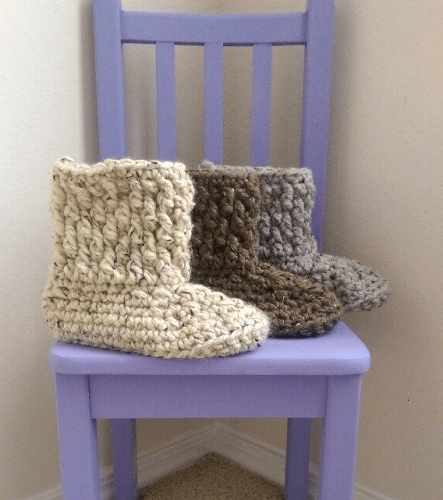 Brickwork Slipper Boots Crochet Pattern by The Lavender Chair