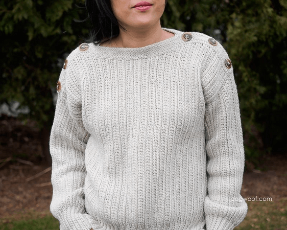 Button-Shoulder Crochet Sweater Pattern by One Dog Woof