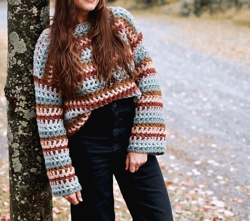 Claudia Crop Free Crochet Sweater Pattern by Two Of Wands