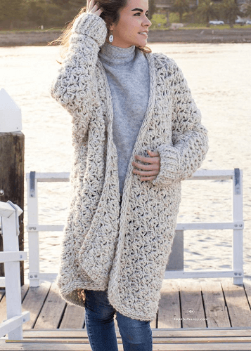 Coastal Fog Chunky Cardigan Crochet Pattern by Hopeful Honey