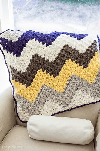 Corner To Corner Crochet Chevron Blanket Pattern by One Dog Woof