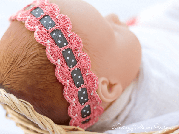 Crochet Baby Headband Pattern by Kirsten Holloway Designs