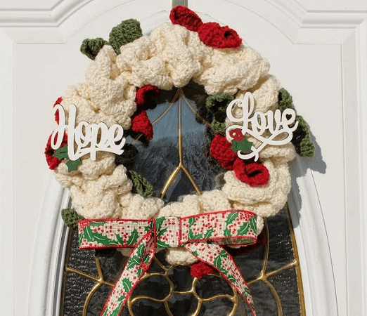 Crochet Christmas Holly Wreath Pattern by Highland Hickory Designs