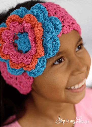 Crochet Flower Headband Pattern by Skip To My Lou