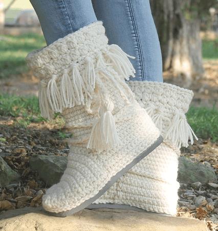 Crochet Fringe Boots Pattern by On Willow Lane