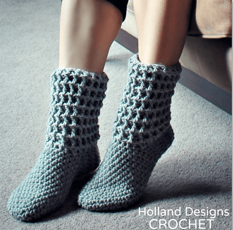 Crochet Ladies Waffle Boots Pattern by Holland Designs