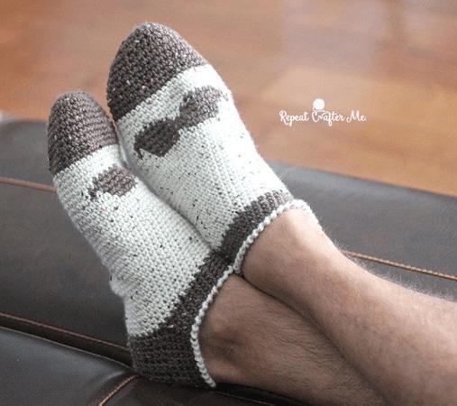 Crochet Mustache Slipper Socks For Men Pattern by Repeat Crafter Me