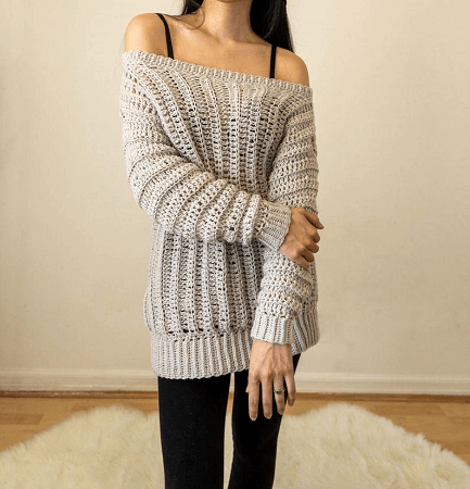 Oversized Crochet Off The Shoulder Top Sweater Pattern by TCDDIY