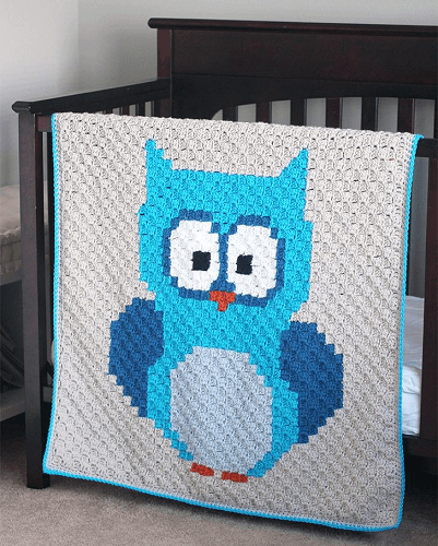 C2C Crochet Owl Baby Blanket Pattern Free by Repeat Crafter Me