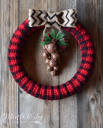 Crochet Plaid Wreath Pattern by Whistle And Ivy