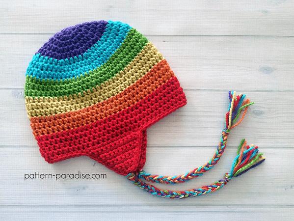 Crochet Rainbow Earflap Hat Pattern by The Pattern Paradise