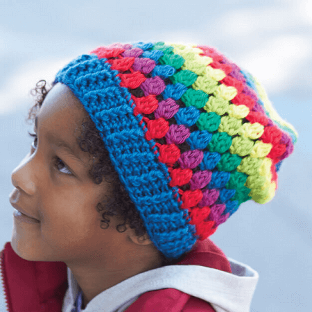 Crochet Rainbow Granny Stripes Hat Pattern by Yarnspirations
