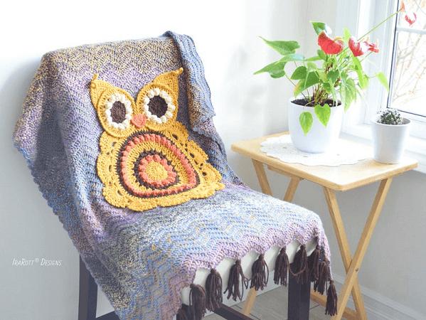 Retro Owl Crochet Blanket Pattern by Ira Rott Patterns