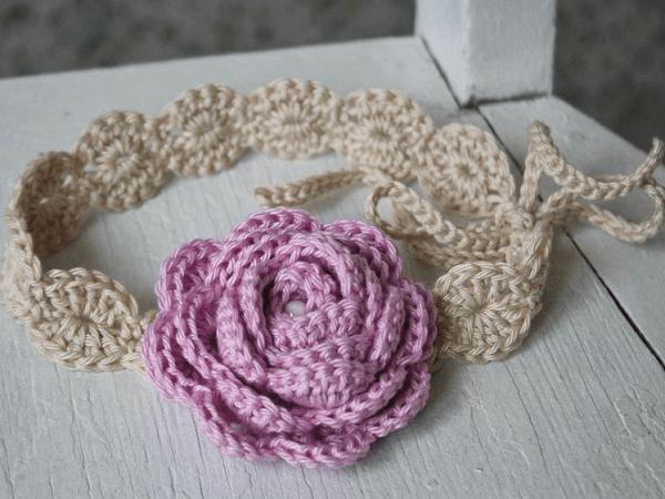 Rose Crochet Flower Headband Pattern by Lilleliis