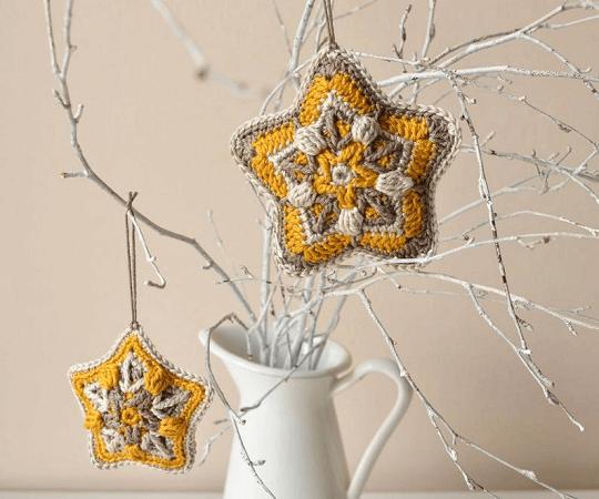 Crochet Star Christmas Ornament Pattern by Lilla Bjorn Crochet