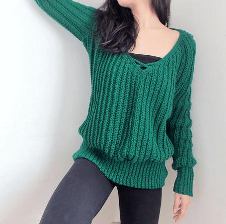 Crochet V Neck Sweater Pattern by TCDDIY