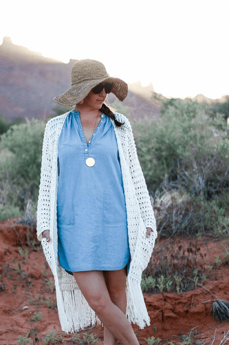 Easy Crochet Long Cardigan Pattern by Make And Do Crew