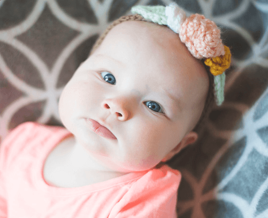 Baby Headband Floral Crochet Pattern by Megmade With Love