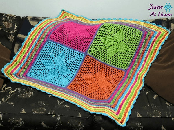 Four Points Star Blanket Crochet Pattern by Jessie At Home