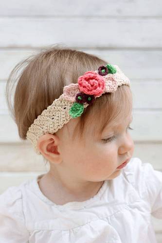 Free Crochet Flower Headband Pattern by Make And Do Crew