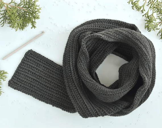 Free Men's Scarf Crochet Pattern by The Spruce Crafts