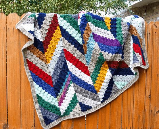 Herringbone C2C Crochet Scrap Blanket Pattern by Salty Pearl Crochet