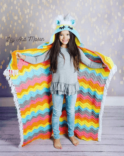 Unicorn Hooded Blanket Crochet Pattern by Lily And Mason Boutique