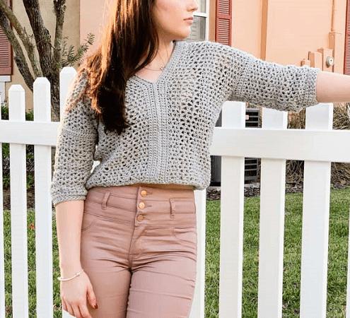 Lightweight Cropped Crochet Sweater Pattern by Mommy Loves Yarn