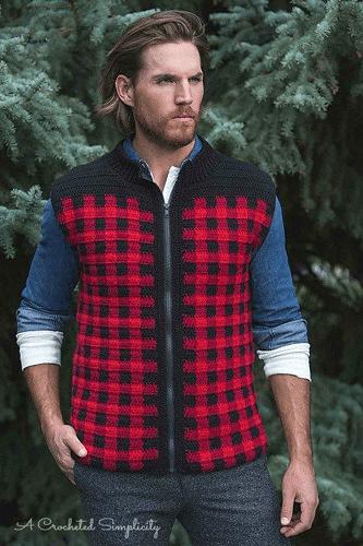 Men's Plaid Vest Crochet Pattern by A Crocheted Simplicity