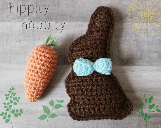 Mini Chocolate Bunny And Carrot Crochet Pattern by Amanda Lynn Crochet