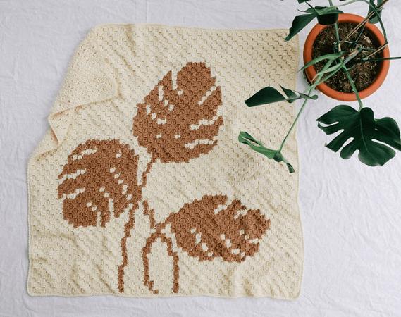 Monstera C2C Blanket Crochet Pattern by Jess Coppom