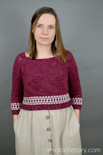 Mosaic Cropped Sweater Crochet Pattern by My Crochetory