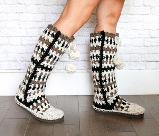 Mukluk Crochet Slipper Boots Pattern by Make And Do Crew