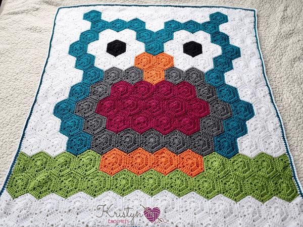 Hexagon Night Owl Crochet Blanket Pattern by Nana's Crafty Home