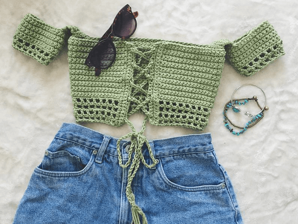 Tube Top Off Shoulder Crochet Top Pattern by Sara Knits Co