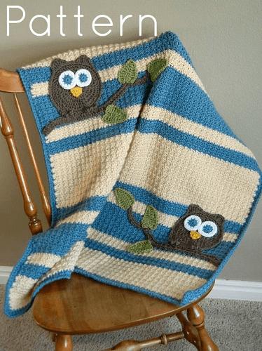 Owl Baby Blanket Crochet Pattern by Abby Cove