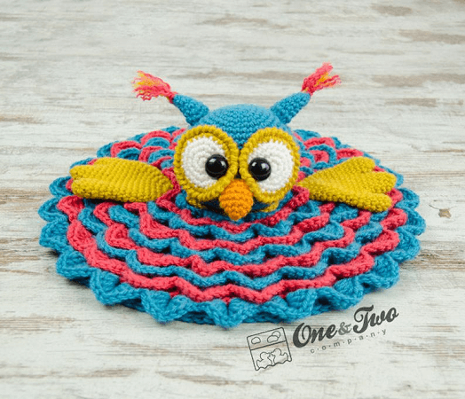 Security Owl Baby Blanket Crochet Pattern by One And Two Company