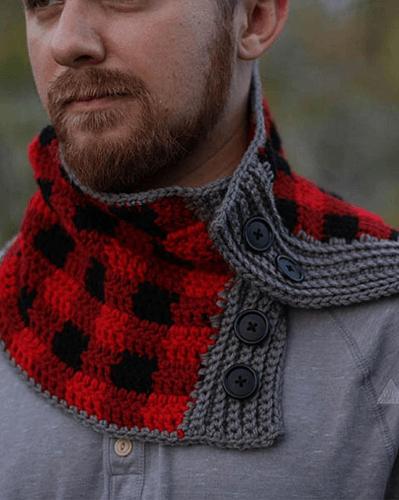 Plaid Men's Cowl Crochet Pattern by Winding Road Crochet