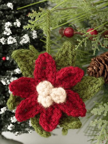 Poinsettia Ornament Crochet Pattern by Lion Brand
