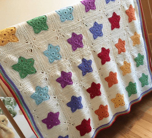 Rainbow Of Star Blanket Crochet Pattern by Sew Sew Baby Store