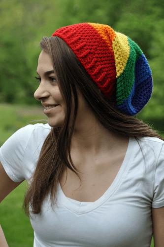 Rainbow Slouchy Hat Crochet Pattern by Crochet Cauldron