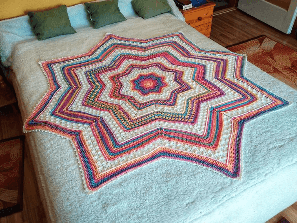 Rainbow Starlight Blanket Crochet Pattern by KAME Crochet