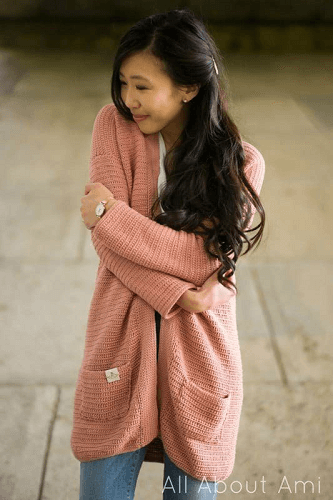 Rosewood Crochet Long Cardigan Pattern by All About Ami