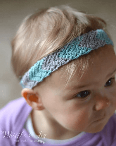 Simple Chevron Baby Headband Crochet Pattern by Whistle And Ivy