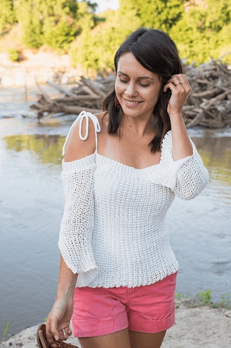 Free Sunset Sweater Crochet Off The Shoulder Top Pattern by Megmade With Love