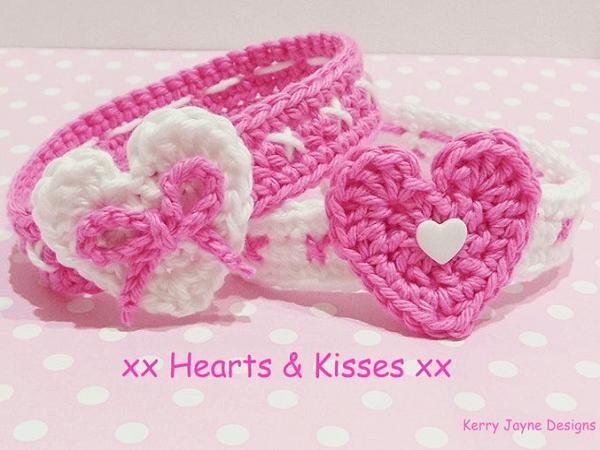 Sweetheart Baby Headband Crochet Pattern by Kerry Jayne Designs