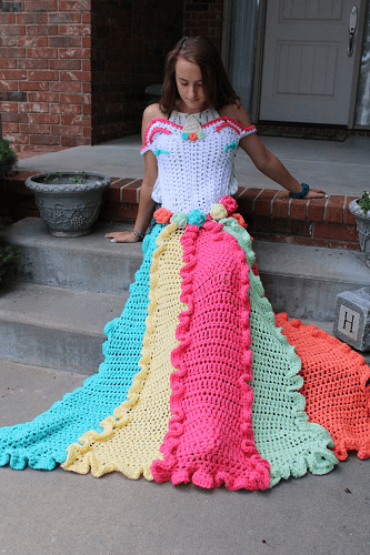 Unicorn Dress Blanket Crochet Pattern by Carol Hladik Designs