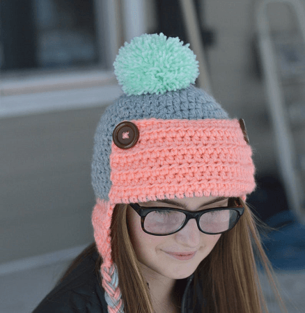 Women's Aviator Hat Crochet Pattern by Whistle And Ivy
